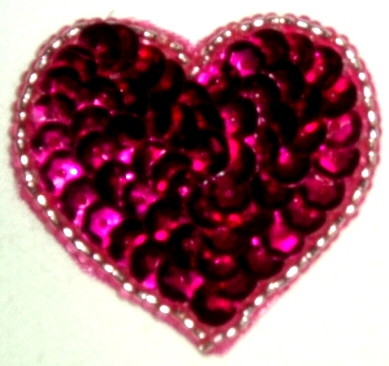 LC364  Fuchsia Silver Heart Sequin Beaded Applique  1.5""