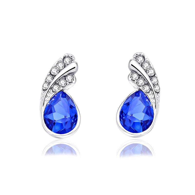 Silver Blue Austria Crystal Rhinestone Earrings Water Teardrop Jewelry (JW26)