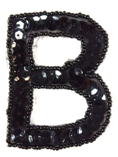 k2 black sequin letter b applique 275