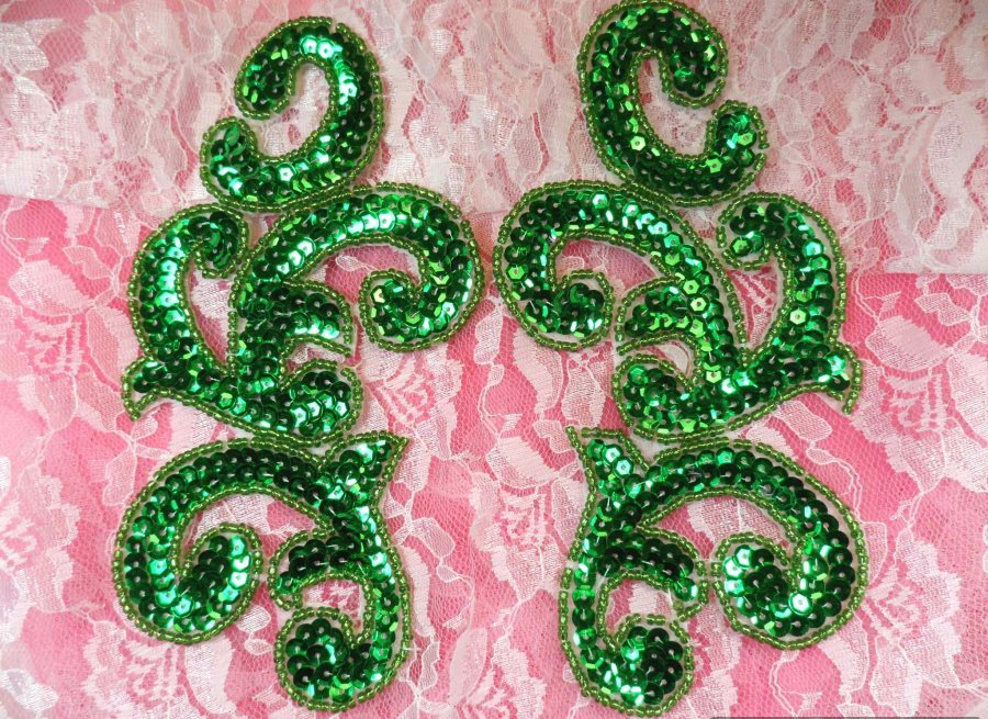 Sequin Appliques Green Mirror Pair Scroll Designer Beaded Iron On 7 (XR357X)