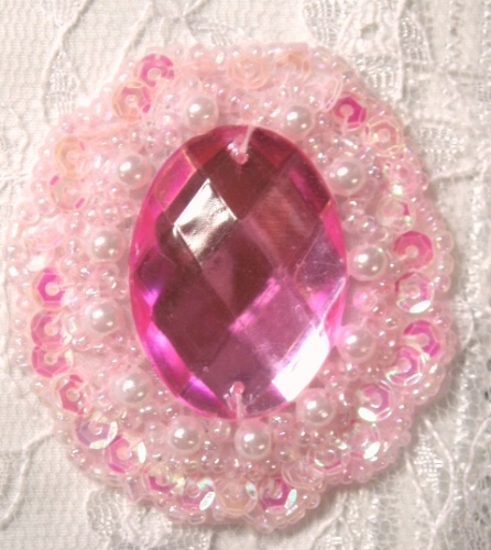 0346   Pink Crystal AB Jewel Beaded Sequin Applique 2&quot;