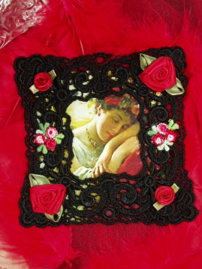 VG24  Black Red Venise Lace Picture Frame Cameo  Applique 4
