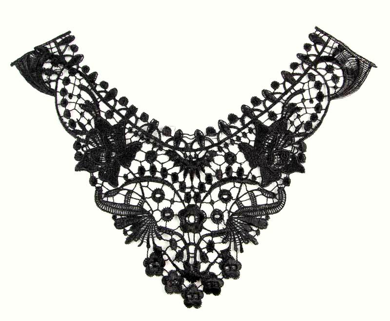 Bodice Applique Embroidered Yoke Collar Neckline Lace Motif Black 12 (Y17)