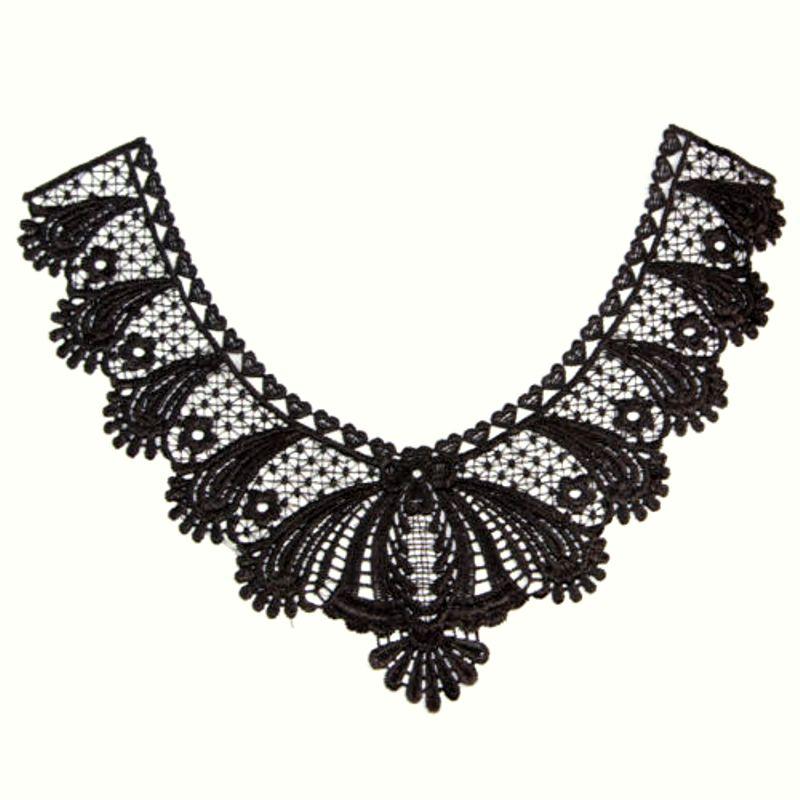 Bodice Applique Embroidered Yoke Collar Neckline Lace Motif Black 10.5 (Y4)
