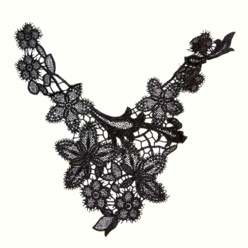 Bodice Applique Embroidered Yoke Collar Neckline Lace Motif Black 13 (Y9)