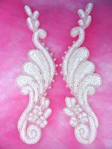 0016 Appliques Ivory Mirror Pair Beaded Sequin 8.5""