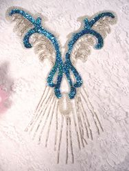 0021 Turquoise  Silver Yoke Sequin Beaded Applique 12""