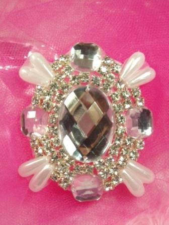 0024 Clear Rhinestone Pearl Beaded  Applique 2.5&quot;