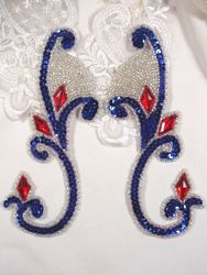 """OS0034 (LEFT SIDE ONLY) Patriotic Jeweled Sequin Beaded Appliques 6"""""""