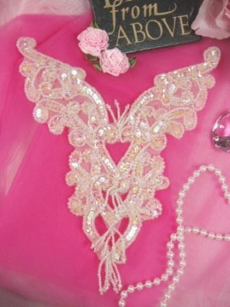 "0035 Crystal AB Heart Bodice Yoke Sequin Beaded Applique 8"""