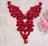 "0035 Red Heart Bodice Yoke 8"" Sequin Beaded Applique"