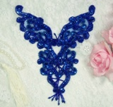 "0035 Royal Blue Heart Bodice Yoke 8"" Sequin Beaded Applique"