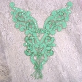 "0035 Mint Green Heart Bodice Yoke 8"" Sequin Beaded Applique"