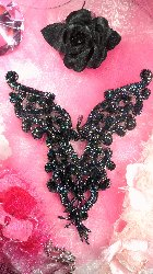 0035 Black AB Heart Bodice Yoke Sequin Beaded Applique 8""