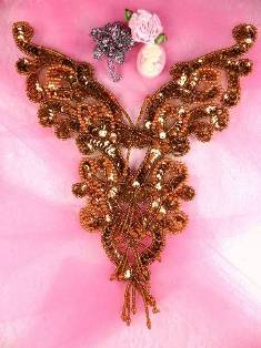 "0035 Bronze Heart Bodice Yoke  Sequin Beaded 8"" Applique"