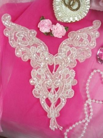 0035 Crystal Heart Bodice Yoke Sequin Beaded Applique 8""