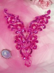 "0035 Fuchsia Heart Bodice Yoke 8"" Sequin Beaded Applique"