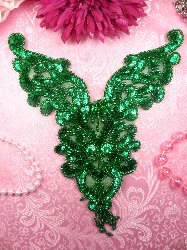 0035 Kelly Green Applique Heart Bodice Yoke Sequin Beaded 8""