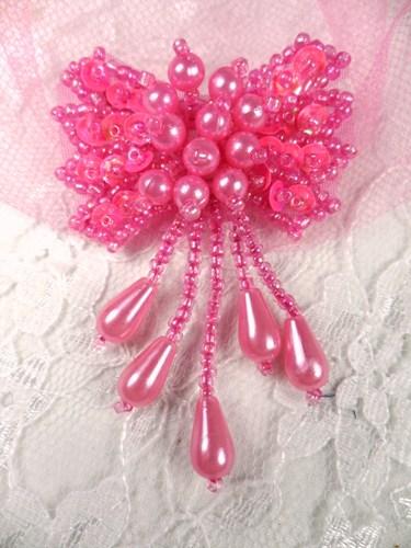 "0036 Hot Neon Pink Bow Sequin Beaded Applique 2.5"""