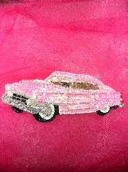 0098 Pink Cadillac Car Sequin Beaded Applique 9.75""