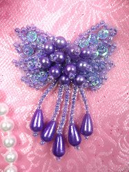 0036 Bow Lavender Sequin Beaded Applique 2.5""