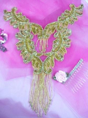 0037 Gold Bodice Yoke Sequin Beaded Applique 10""
