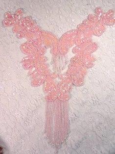 0037  Pink Bodice Yoke Beaded Sequin Applique