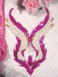 """0047 Fuchsia & Pearl Bodice Beaded Sequin Applique 11"""""""