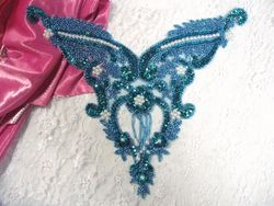 """0055 Turquoise Pearl Bodice Beaded Sequin Applique 11"""""""