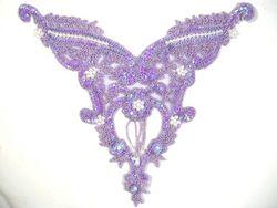 "0055 Lavender Pearl Bodice Beaded Sequin Applique 11"""
