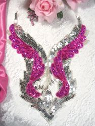 0061 Fuchsia & Silver Bodice Beaded Sequin Applique 11""