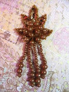 0073 Bronze Leaf Dangle Sequin Beaded Applique 3""