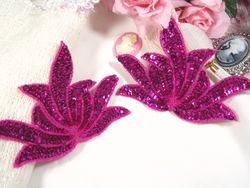 """0079 Fuchsia Sea Weed Mirror Pair Sequin Beaded Applique 6"""""""
