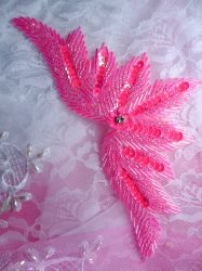 0084 Hot Pink Motif  Sequin Beaded Applique 7""