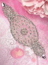 "0086 Amy Silver Beaded Pearl Crystal Rhinestone Applique 8.25"""