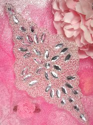 0089 Reduced Wilma Silver Beaded Crystal Rhinestone Applique 8.25""
