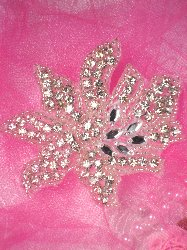 0093 Eleanor Silver Beaded Crystal Rhinestone Applique 3.25""