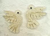 "Sequin Beaded White Dove Applique Mirror Pair 2""  (0100X)"