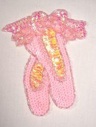"""0118 Ballerina Slippers Beaded Sequin Applique 5"""""""