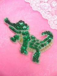 "0159 Green Sequin Beaded Crocodile Alligator Applique 4.5"""