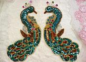 Aqua Peacock Mirror Pair Sequin Beaded Appliques (0167X)