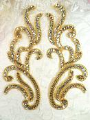 """Appliques Gold Holographic Sequin Mirror Pair Beaded Motifs 9"""" (0170X)"""