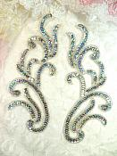"Appliques Silver Holographic Sequin Mirror Pair Beaded Motifs 9"" (0170X)"