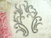 """Appliques Silver Holographic Sequin Mirror Pair Beaded Motifs 9"""" (0170X)"""