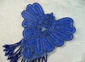 "Epaulet Sequin Applique w/ long Dangle Accent Beads Royal Blue Sewing Patch 8"" (0178)"