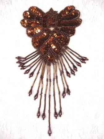 """0178  Bronze Chocolate Epaulet Sequin Beaded Applique 8"""""""