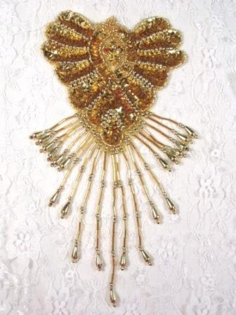 "0178  Gold Epaulet Sequin Beaded Applique 8"""