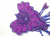 "Epaulet Sequin Applique w/ long Dangle Accent Beads Purple Sewing Patch 8"" (0178)"