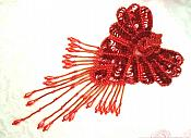 "Epaulet Sequin Applique w/ long Dangle Accent Beads Red Sewing Patch 8"" (0178)"