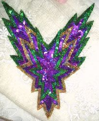 0179 Mardi Gras  Bodice Beaded Sequin Applique 11""